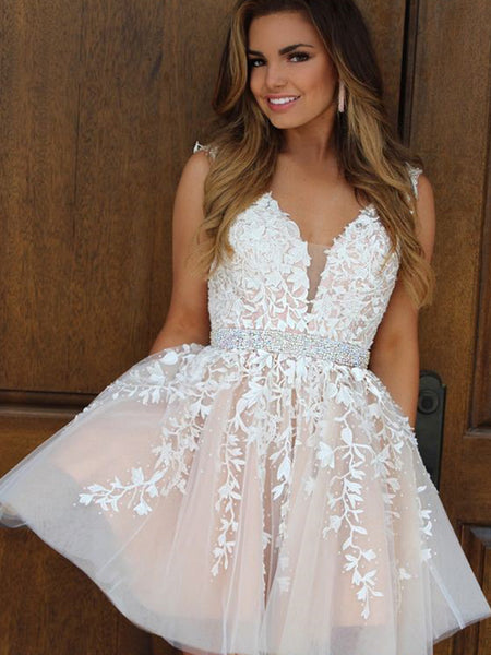 A-Line/Princess V-Neck Tulle Sleeveless Two Piece Short/Mini Evening Prom Dress with Applique