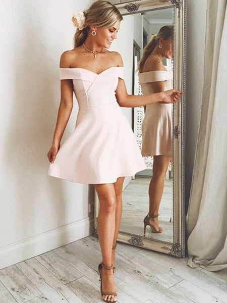 A-Line/Princess Off-the-Shoulder Satin Sleeveless Short/Mini Homecoming Dress