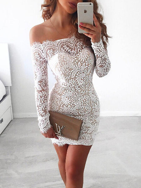 Sheath/Column Off-the-Shoulder Long Sleeves Short/Mini Homecoming Dress with Lace