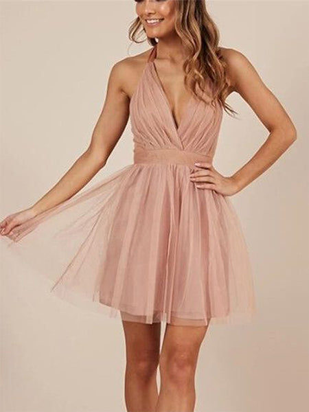 A-Line/Princess Halter Tulle Long Sleeves Short/Mini Homecoming Dress with Ruffles