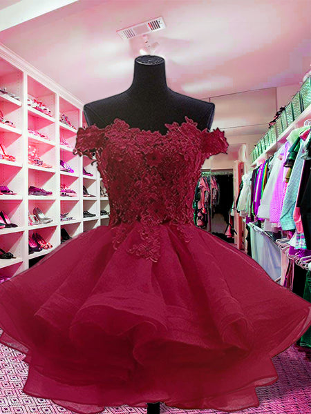 Ball Gown Off-the-Shoulder Organza Long Sleeves Short/Mini Prom Dress with Applique