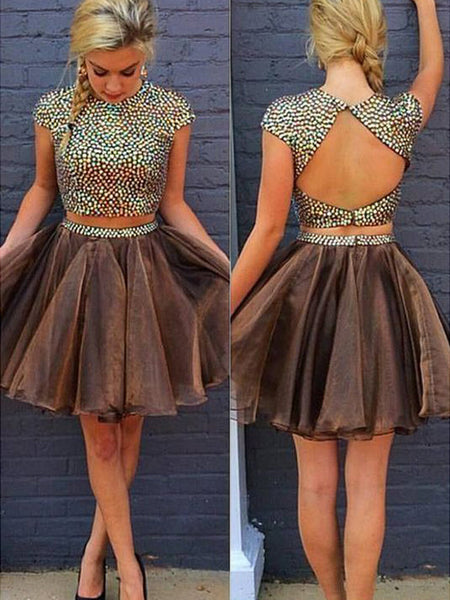 A-Line/Princess Scoop Organza Long Sleeves Two Piece Short/Mini Homecoming Dress with Beading