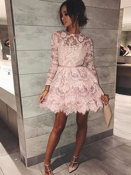 A-Line/Princess Bateau Beading Long Sleeves Short/Mini Cocktail Dress with Lace