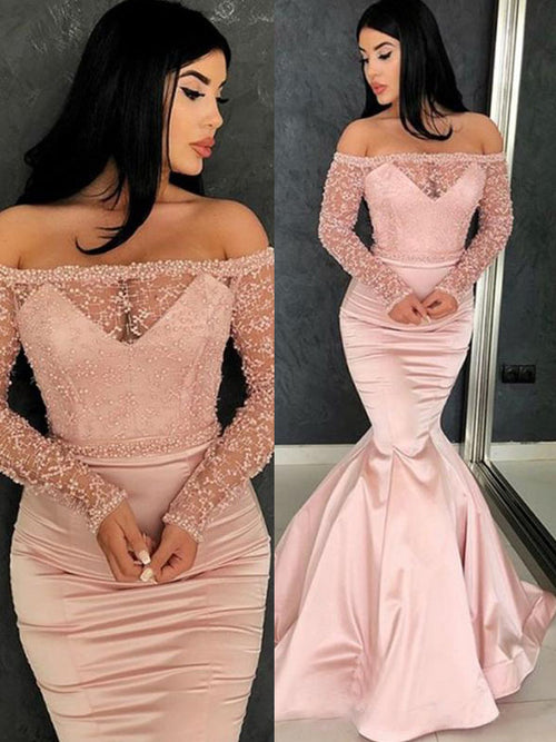 Trumpet/Mermaid Off-the-Shoulder Satin Long Sleeves Sweep/Brush Train Prom Dress with Ruffles