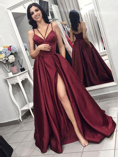 A-Line/Princess Spaghetti Straps Satin Sleeveless Ruffles Sweep/Brush Train Prom Dress with Slit