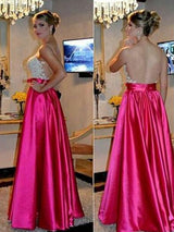 A-Line/Princess Sweetheart Satin Sleeveless Blackless Floor Length Prom Dress with Applique
