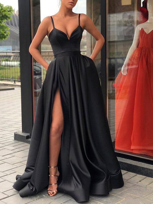 A-Line/Princes Straps Satin Sleeveless Sweep/Brush Train Prom Dress with Slit Ruffles