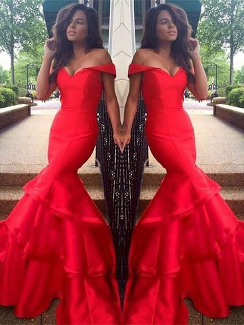 Trumpet/Mermaid Off-the-Shoulder Sweep/Brush Train Taffeta Sleeveless Prom Dress with Layers