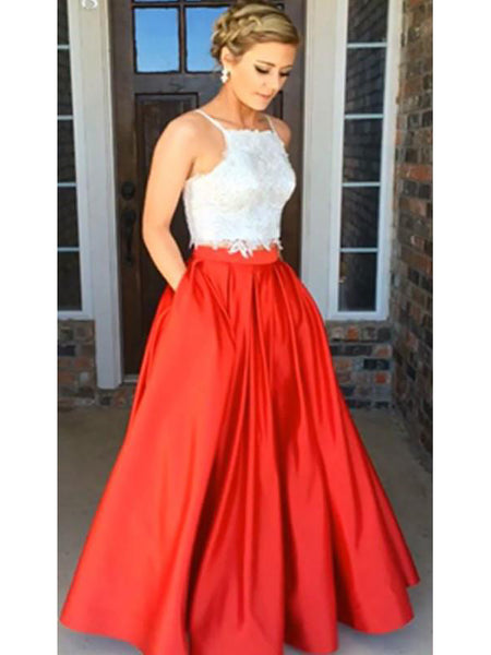 A-Line/Princess Spaghetti Straps Floor Length Satin Sleeveless Two Piece Prom Evening Dress with Lace