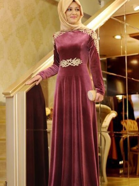 A-Line/Princess Scoop Velvet Long Sleeves Floor Length Islamic Dress with Ruffles