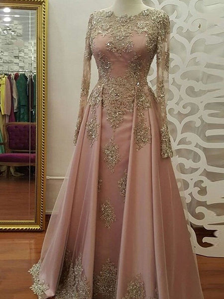 A-Line/Princess Scoop Tulle Long Sleeves Floor Length Islamic Dress with Appliques