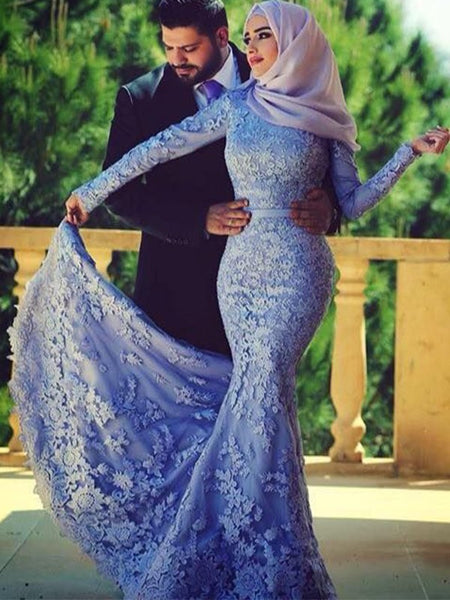 Trumpet/Mermaid Scoop Lace Long Sleeves Sweep/Brush Train Islamic Dress with Ruffles