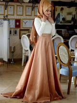 A-Line/Princess Scoop Satin Long Sleeves Sweep/Brush Train Islamic Dress with Lace