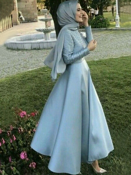 A-Line/Princess Scoop Satin Long Sleeves Floor Length Islamic Dress with Beading