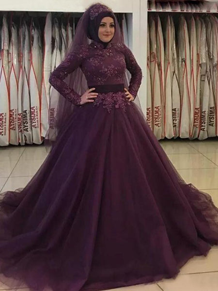 Ball Gown High Neck Tulle Long Sleeves Sweep/Brush Train Islamic Dress with Appliques