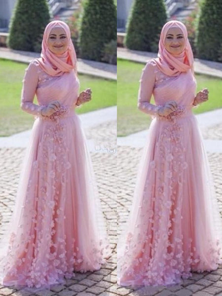 A-Line/Princess Scoop Tulle Long Sleeves Sweep/Brush Train Islamic Dress with Appliques