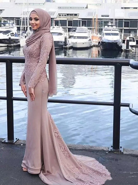 Trumpet/Mermaid Scoop Satin Long Sleeves Sweep/Brush Train Islamic Dress with Appliques