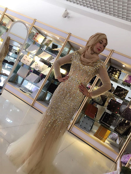 Sheath/Column Scoop Tulle Long Sleeves Floor Length Islamic Dress with Sequin