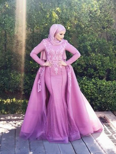 Trumpet/Mermaid Scoop Tulle Long Sleeves Sweep/Brush Train Islamic Dress with Appliques