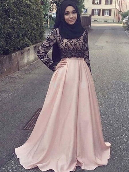 A-Line/Princess Scoop Satin Long Sleeves Sweep/Brush Train Islamic Dress with Appliques