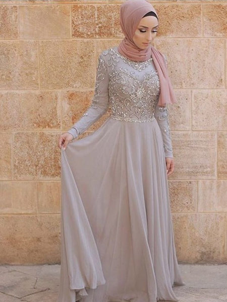 A-Line/Princess Scoop Tulle Long Sleeves Sweep/Brush Train Islamic Dress with Crystal