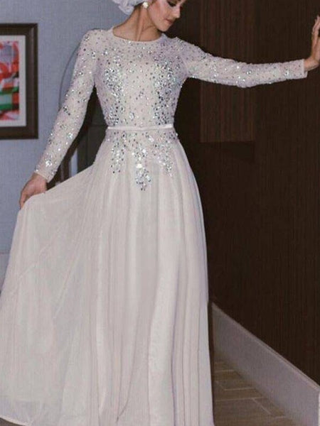 A-Line/Princess Scoop Chiffon Long Sleeves Floor Length Islamic Dress with Crystal