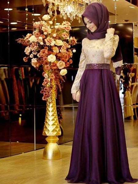 A-Line/Princess Scoop Satin Long Sleeves Floor Length Islamic Dress with Beading Appliques