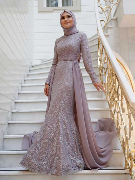 Sheath/Column Scoop Tulle Long Sleeves Sweep/Brush Train Islamic Dress with Appliques