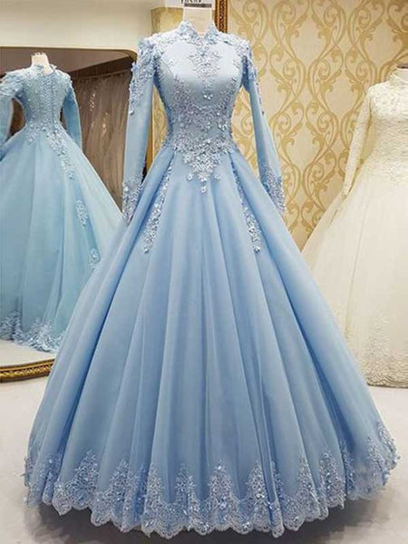 Ball Gown High Neck Tulle Long Sleeves Floor Length Islamic Dress with Lace