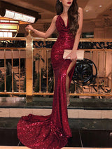 Trumpet/Mermaid V-Neck Sequins Sleeveless Sweep/Brush Train Prom Evening Dress with Ruffles