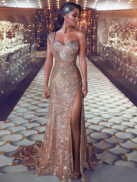 Sheath/Column One-Shoulder Sweep/Brush Train Sequins Sleeveless Prom Evening Dress with Beading