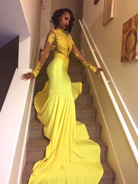 Trumpet/Mermaid High Neck Court Train Satin Long Sleeves Prom Evening Dress with Appliques
