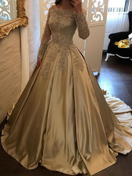Ball Gown Off-the-Shoulder Sweep/Brush Train Satin Long Sleeves Prom Dress with Appliques