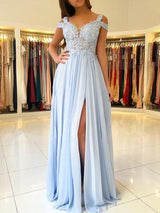 A-Line/Princess V-Neck Floor Length Chiffon Sleeveless Appliques Prom Formal Dress with Split
