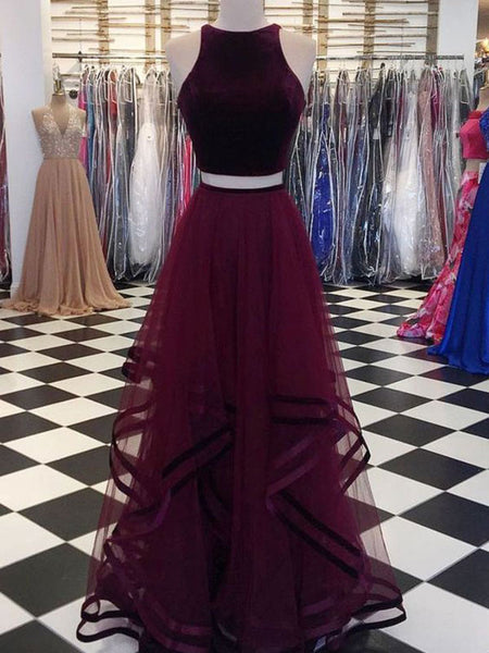 A-Line/Princess Scoop Tulle Sleeveless Floor Length Two Piece Prom Dress with Ruffles