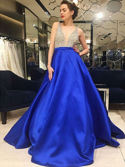 A-Line/Princess V-Neck Satin Sleeveless Sweep/Brush Train Prom Evening Dress with Beading