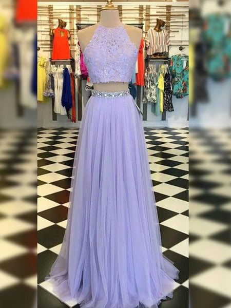 A-Line/Princess Halter Tulle Sleeveless Floor Length Two Piece Dress with Lace