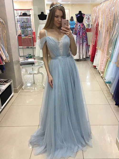 A-Line/Princess Spaghetti Straps Tulle Sleeveless Sweep/Brush Train Prom Evening Dress with Ruffles