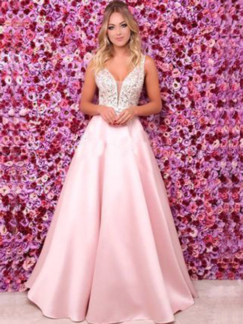 A-Line/Princess Spaghetti Straps Satin Sleeveless Floor Length Prom Evening Dress with Beading