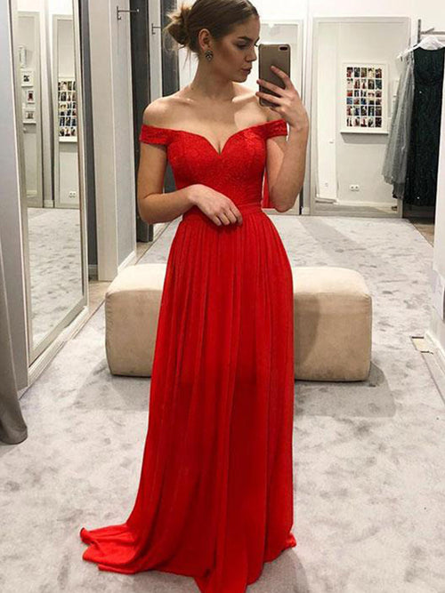 A-Line/Princess Off-the-Shoulder Chiffon Sleeveless Floor Length Prom Evening Dress with Ruffles