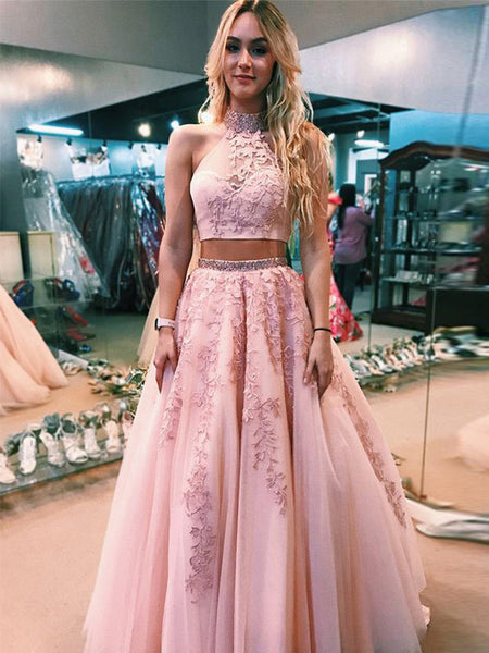 A-Line/Princess Halter Tulle Sleeveless Floor Length Two Piece Prom Dress with Applique