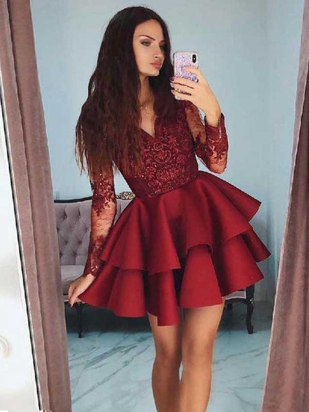 A-Line/Princess V-Neck Satin Lace Long Sleeves Short/Mini Prom Dress