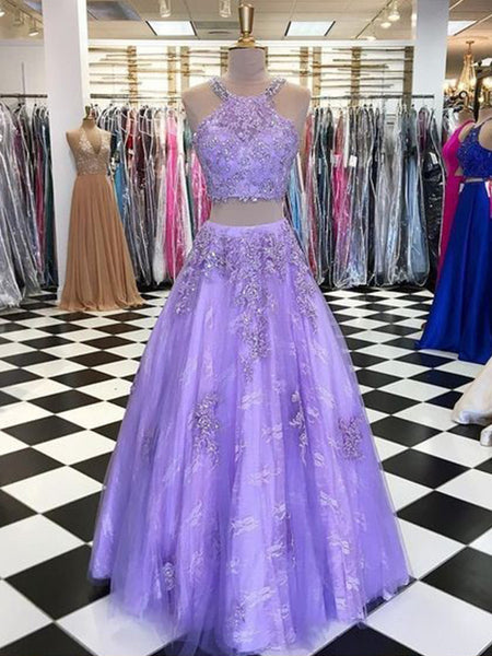 A-Line/Princess Halter Floor Length Tulle Beading Sleeveless Two Piece Prom Formal Dress