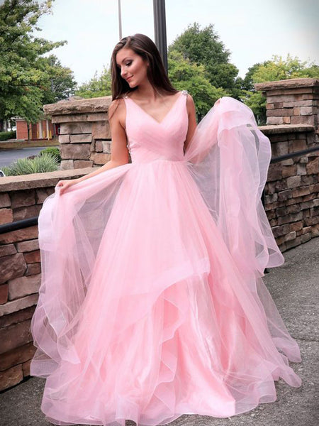 A-Line/Princess V-Neck Sweep/Brush Train Tulle Ruched Sleeveless Dress