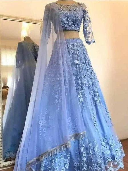 A-Line/Princess Scoop Floor Length Tulle Applique 3/4 Sleeves Two Piece Prom Formal Dress