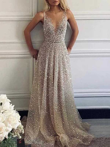 A-Line/Princess V-Neck Floor Length Tulle Sequins Sleeveless Backless Prom Evening Dress