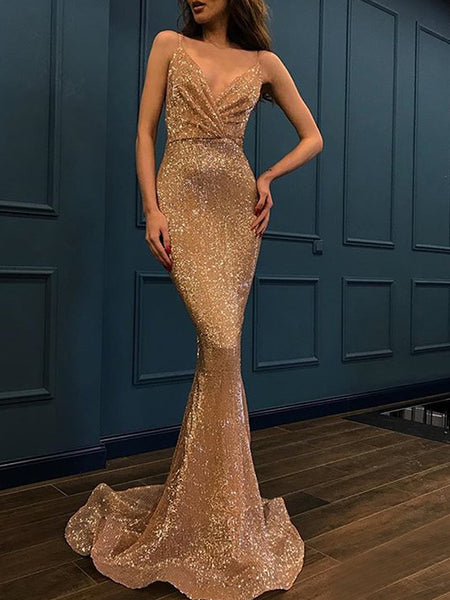 Trumpet/Mermaid Spaghetti Straps Sweep/Brush Train Sequins Sleeveless Backless Prom Formal Dress