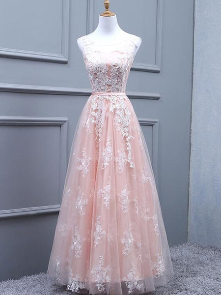 A-Line/Princess Scoop Floor Length Tulle Applique Sleeveless Prom Formal Dress