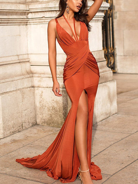 Trumpet/Mermaid V-Neck Sweep/Brush Train Satin Ruched Long Sleeves Backless Prom Dress with Slit