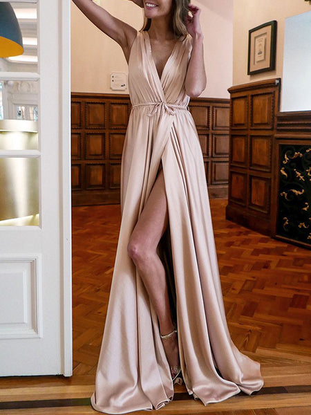 A-Line/Princess V-Neck Floor Length Satin Ruched Sleeveless Backless Prom Formal Dress with Slit